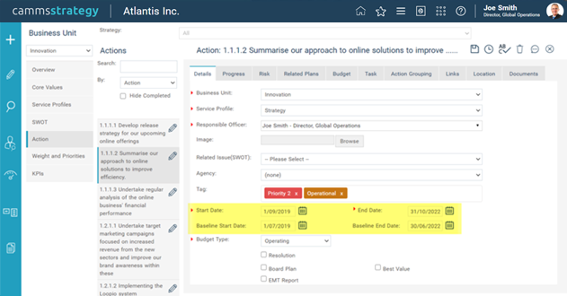 Baseline Dates within Action Details page