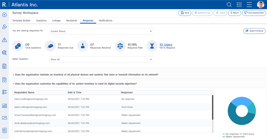 View responses from individuals and export answers for a more detailed analysis.